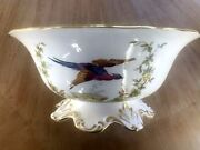 Spode Chelsea Bird F 1652 Raised Gold Dots Large Footed Fruit Bowl England