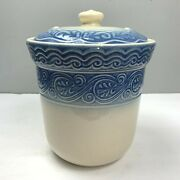 Longaberger Pottery Cookie Jar Blue Cream Large With Lid Canister Embossed