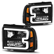 For 2005-2007 Ford F250 F350 F450 F550 Superduty Led Drl Black Headlights Lamps