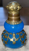 Antique French Blue Opaline Glass And Gilt Bronze Perfume Bottle 2.75andrdquo7cm Vg