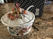 Fitz And Floyd Pilgrims Progress Turkey Tureen With Ladle And Matching Platter