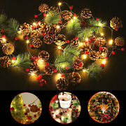 Christmas Garland Battery Operated String Lights 2 Modes W/red Berry Pine Cone
