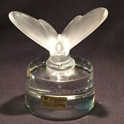 Cristalleries Royales De Champagne Frosted Butterfly Clear Glass Paperweight 25