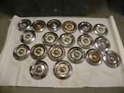 1957-58-59 Ford Vintage Factory Oem Hubcap Wheel Covers Sold As Lot Of 19 Used