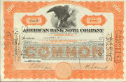 American Bank Note Company Banknote Printer Stock Certificate Share