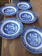 5 Set Vintage China 9 Bowls Blue And White Willow Pattern Set 5 Approx 9 Inches