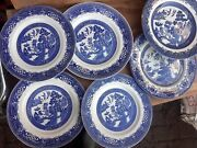 7 Set Vintage China Plates Blue White Willow Pattern Job Lot 9-10 Inches 7