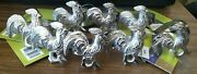 Farmhouse Rooster Napkin Ring Set Of 8 Silver Vintage Look