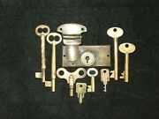 Antique Brass Mixed Lot 9 Pcs Keys And Secure Lever Lock Solid Hollow Clock Trunk