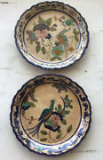 Gorgeous Pair Hand Painted Ceramic Wall Plates Made In Greece And Artist Signed