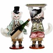 Mark Roberts 2021 Cat Wine Bottle Holder And Holding Tray Figurine Asst. Of 2