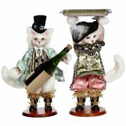 Mark Roberts 2021 Cat Wine Bottle Holder And Holding Tray Figurine, Asst. Of 2