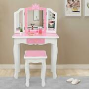 Kids Wood Vanity Table And Stool Set With Drawer Dressing Table Snowflake Girls