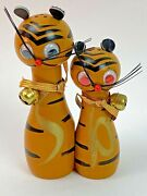Vintage Cat Tiger Mcm Mid Century Wood Salt And Pepper Shakers Googly Eyes Fw33