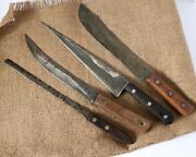 Collection 4 Antique Wooden Handled Kitchen Butcher Knives - 14 1/2 - 16 Long