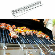 10x Shish Skewers Barbeque Bbq Kebab Flat Long Grill Sticks Stainless Steel 38cm