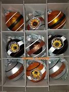 Christopher Radko Reflectors And Rounds Shiny Brite Halloween Glass Ornaments 9ct