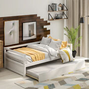 Twin Size Wood Trundle Bed Frame Stable Bed Bedroom Size 41.7andrsquoandrsquo X 76andrsquoandrsquo Usa