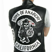 Sons Of Anarchy Men Black Leather Jacket Motorcycle Jackets Soa Vests Top Gift