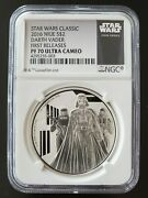 2016 Star Wars Darth Vader 1oz Silver Niue Coin Pf70 Ultra Cameo --1st Releases