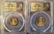 1999-w St. Gaudens 5 And 10 Unfinished Pr Dies Gold Eagles Pcgs Ms69 Matched Set
