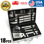Usa Bbq Grill Tool Set- 18 Piece Stainless Steel Barbecue Grilling Accessories