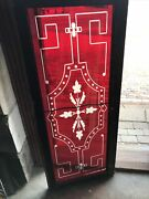 Sg 3601. Antique Ruby Red Wheel Cut Stained Glass Window 20.25 X 48 Cracked