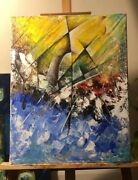 Acrylic Abstract Paint Just Used Palette Knife 20 X 16 Canvas