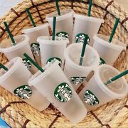 30pcs Starbucks Reusable Frosted Ice Cold Drink Cup With Lid And Straw Venti 24 Oz