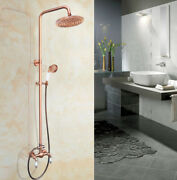 Antique Red Copper Wall Mounted Bathroom Shower Set Faucet With Handshower