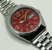 Vintage Used Citizen Automatic 36 Mm Silver Red Dial Menand039s Wrist Watch