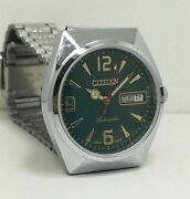 Vintage Used Citizen Automatic 36 Mm Silver Green Dial Menand039s Wrist Watch
