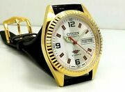 Vintage Used Citizen Automatic 36 Mm Silver White Dial Menand039s Wrist Watch