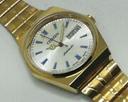 Vintage Used Citizen Automatic 36 Mm Gold Plated White Dial Menand039s Wrist Watch