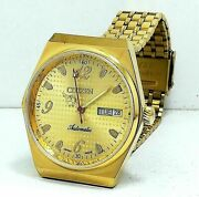 Vintage Used Citizen Automatic 36 Mm Gold Plated Menand039s Wrist Watch