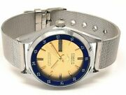 Vintage Used Citizen Automatic 36 Mm Silver Yellow Dial Menand039s Wrist Watch