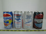 Lot Of 4 Vintage Pop Soda Cans Pepsi Sea World Voyager Cool Can Surfer Skuc