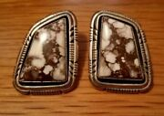 Navajo White Buffalo Turquoise Sterling Silver Earrings Raymond Delgarito Signed
