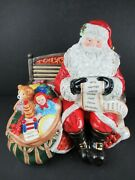 Waterford Holiday Heirlooms Santaand039s List Musical Cookie Jar W/orig Boxandpack Foam