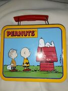 Peanuts Mini Tin Lunch Box Snoopy Charlie Brown Vintage United Feature Syndicate