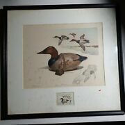 1975 James Fisher Remarque Federal Duck Print Framed With Stamp