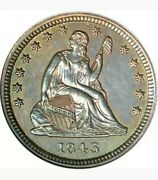 1843 25c Seated Liberty Quarter Anacs Au-55 Grand Appeal Absolutely Rare