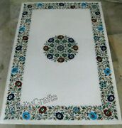30 X 48 Inch Marble Lawn Table Top Rectangle Shape Coffee Table With Inlay Work