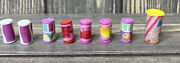 Vintage Barbie Replacement Soda Pop Food Cans White Pink Red Purple Yellow
