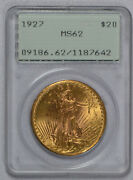 1927 20 Saint Gaudens Gold Double Eagle Pcgs Graded Ms 62 Rattler Ogh