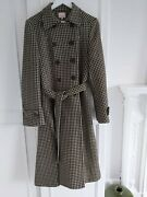Whistle Brown/cream Hound Tooth Check Coat Size 14 Ex Cond