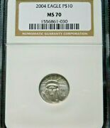 2004 10 Platinum Eagle 1/10 Oz. Ngc Ms70 The Key Date 325 Ngc Perfect Coin