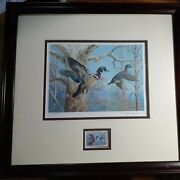 Ned Smith Signed Le Dark Wood Framed Waterfowl Management Print/stamp 17 X 16