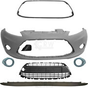 Set Bumper Front Primed+fog + Accessories For Ford Fiesta 6 Cb1 Year 08-12