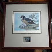 1983 Rare Wood Framed Maryland Ducks Unlimited Holly Swamp S/n 49/55